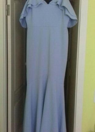 Платье макси асимметричной длины с рюшами john zack tal3 фото