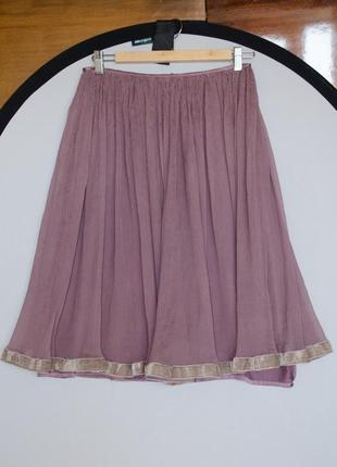 Красивая нежная летняя шелковая жатая сиреневая юбка от sultanna frantsuzova