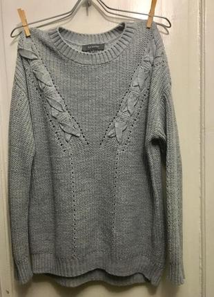 Вязаный свитер туника с переплетами от primar atmosphere