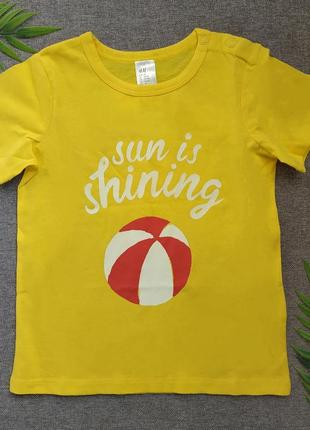 Желтая футболочка / футболка h&m/ футболка 1.5-2 года