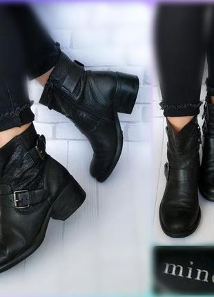 37-38р кожа!италия minelli ботинки,сапоги,с принтом