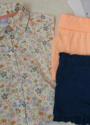 Комплект набор блузка футболка и шорты на 6-9 мес и дольше1 фото
