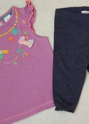 Комплект набор футболка туника и лосины на 3 мес и дольше