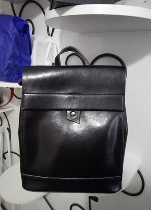 Рюкзак женский из качественной натуральной кожи, шикарный и стильный, черный, сумка-рюкзак