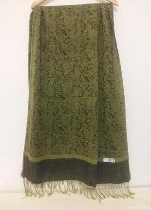 Шикарный палантин, жаккардовая шаль  ( шелк, вискоза) с ткаными цветами и бахромой