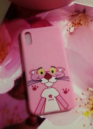 Матовый силиконовый чехол для  iphone 8+ , iphone х с розовой пантерой pink panther