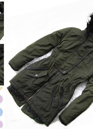 Стильная теплая  куртка парка с капюшоном f&f