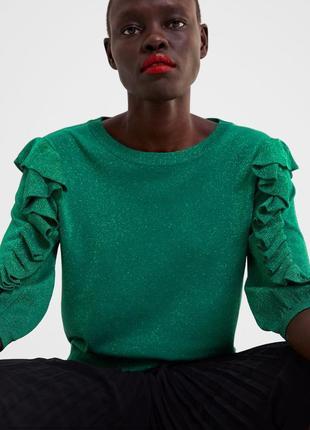 Топ блуза джемпер с рюшами оборками с люрексом блестящий zara оригинал