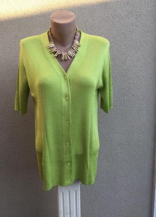 Винтаж,трикотаж в рубчик блуза,кофточка на застежке,кардиган,большой размер,шелк100%