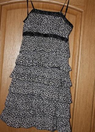 Гепардовое летнее платье с паетками р-36/38(m.s)
