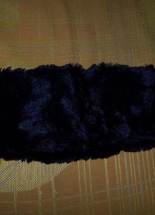 Меховая черная повязка на голову