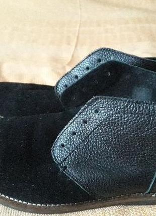 Кожаные чёрные фирменные ботинки river island
