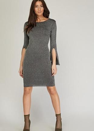 Серебряное вязаное платье с люрексом
