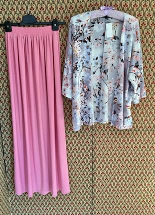 Костюм комплект накидка цветочный принт юбка в пол пастельный