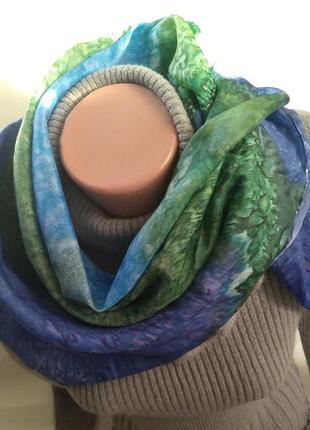 Изысканный яркий стильный платок из 100% натурального шелка 90 см