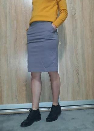 Шикарная юбка-футляр на высокой посадке с карманами h&m