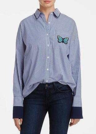 """Рубашка  в полоску с контрастными манжетами в пижамном стиле с вышивкой """"бабочка"""" l"""