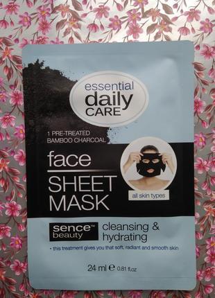Черная тканевая маска для лица essential daily care очищающая против акне для жирной кожи