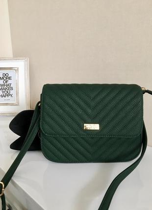 Зелёная сумка клатч из экокожи кросс боди через плече