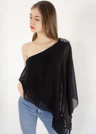 Zara асимметричная шифоновая блузка на одно плечо с длинным рукавам и шипами, блуза