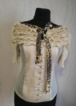 Оригинальная пудровая дизайнерская блуза натуральный шелк just cavalli оригинал