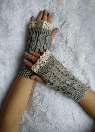 Митенки с кружевом, перчатки без пальцев, варежки