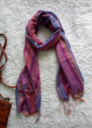 Большой яркий лёгкий шарф шарфик палантин полосатый демисезонный