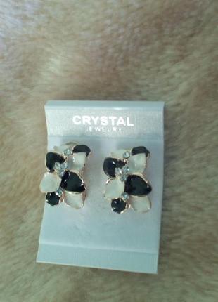 Красивые серьги с кристаллами