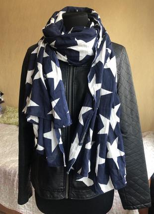 Синий шарф в белые звёзды tommy hilfiger denim