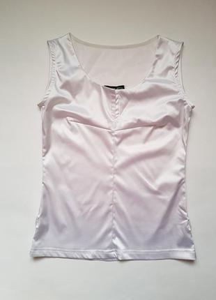 Шикарная белая атласная майка блуза с сеточкой на спине,классическая блузка без рукавов