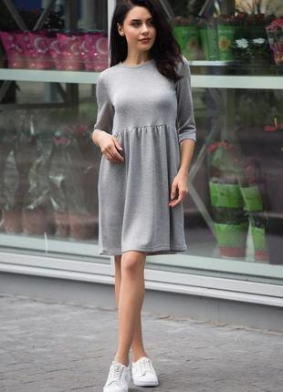 Серое трикотажное миди платье свободного фасона. можно беременным