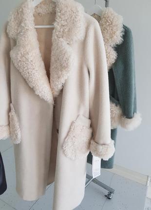 Пальто шуба 100% мех овцы натуральная овчина