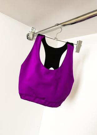 Женский яркий спортивный топ топик для йоги бега фитнес фиолетовый с чёрным