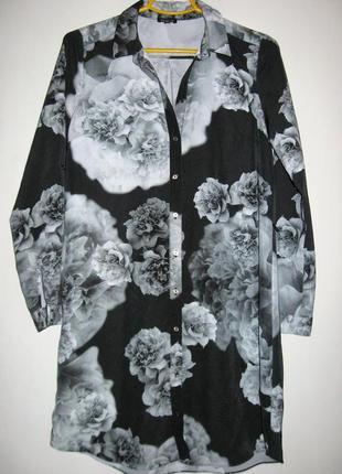 Платье-рубашка в черно-белый принт