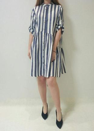 Блуза-туника в сине-белую полоску италия