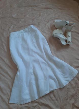 Шикарная юбка-русалка миди , 100% лен( батал)