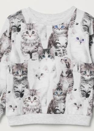 Тонкий свитшот с котиками 4-6 лет h&m