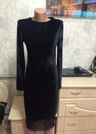 Платье миди качественный турецкий велюр с кружевом