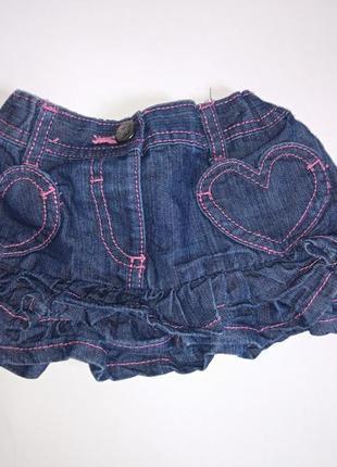 Прикольная джинсовая юбочка на 1-1,5 года 81-86 см,новая