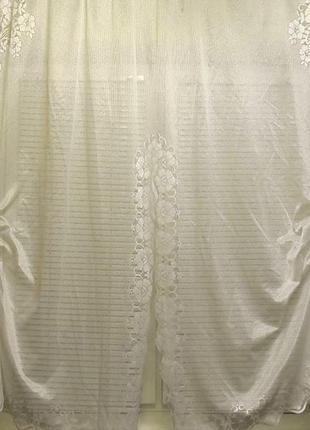 Готовая кухонная гардина тюль белая кружевная 3,0 х 1,68 м