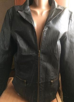 Куртка чёрная кожаная/l-xl/100% натуральная кожа
