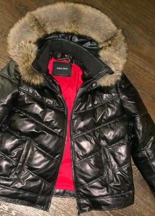 Куртка из натуральной кожи и натуральным мехом финского енота в наличии