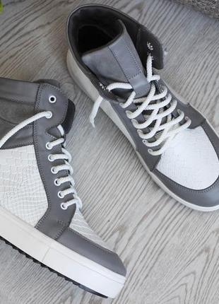 Высокое качество натуральные кожаные женские хайтопы ботинки мега крутые
