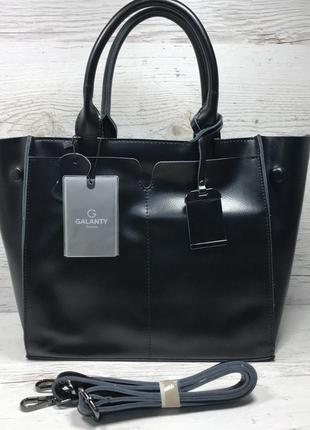 Женская кожаная сумка черная серая розовая жіноча шкіряна сумка чорна