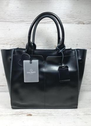 Женская кожаная сумка черная серая розовая жіноча шкіряна сумка чорна2 фото