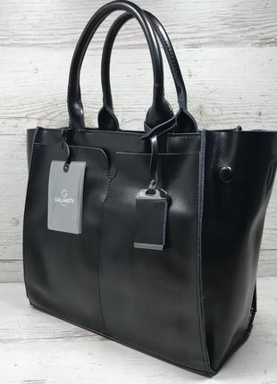 Женская кожаная сумка черная серая розовая жіноча шкіряна сумка чорна4 фото