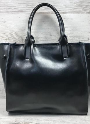 Женская кожаная сумка черная серая розовая жіноча шкіряна сумка чорна5 фото
