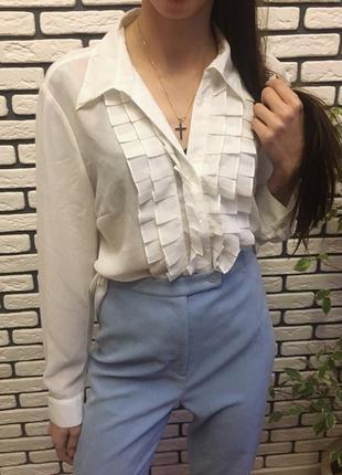 Белая блуза с рюшами нарядная/повседневная