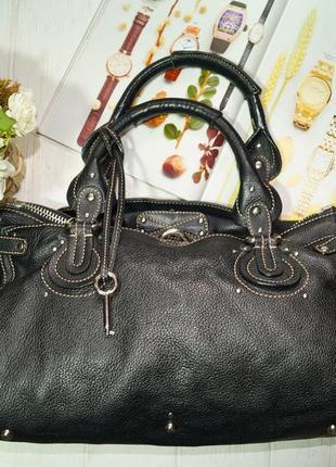 Vera pelle. италия. роскошная сумка на 3 отделения