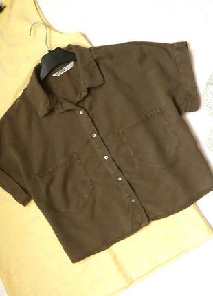 Стильная укороченная рубашка оверсайз  zara